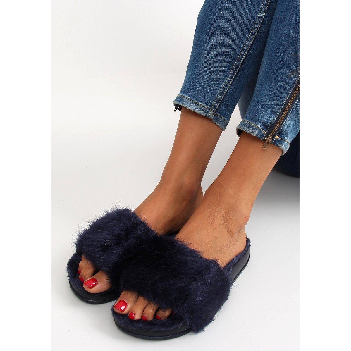 Klapki Futrzane Dd68 Blue Granatowe Fashion Shoes Fur Slides