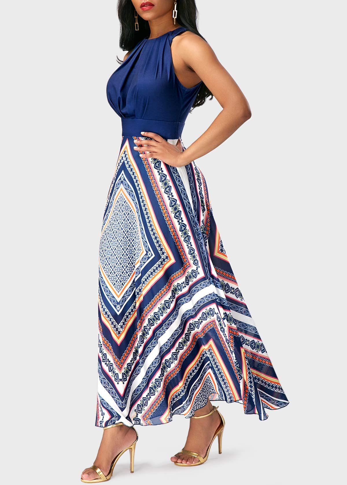b6702dc08140 Round Neck Sleeveless Patchwork Printed Dress