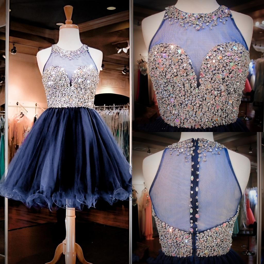 tulle homecoming dresses real images illusion high neck sequins