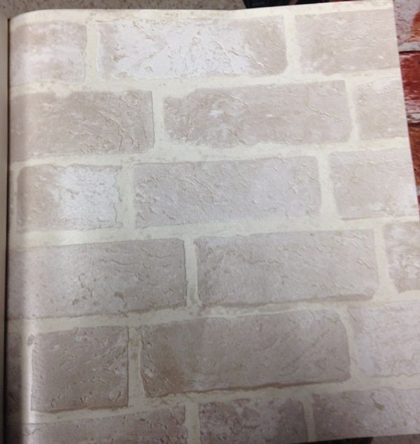 "White Brick Wallpaper Kitchen: Off-White Brick Wallpaper. Textured ""weathered"" Feeling"