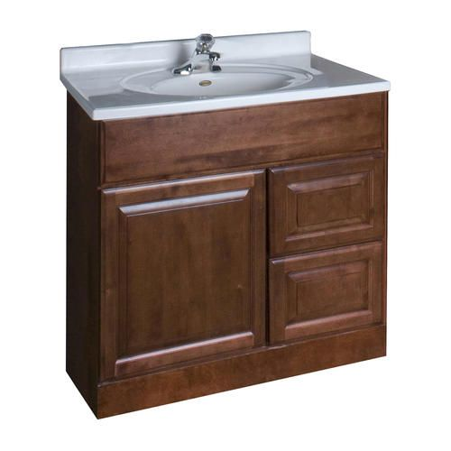 Diffe Sink Top Pace Valencia Series 30 X 18 Vanity With Drawers On Right At Menards