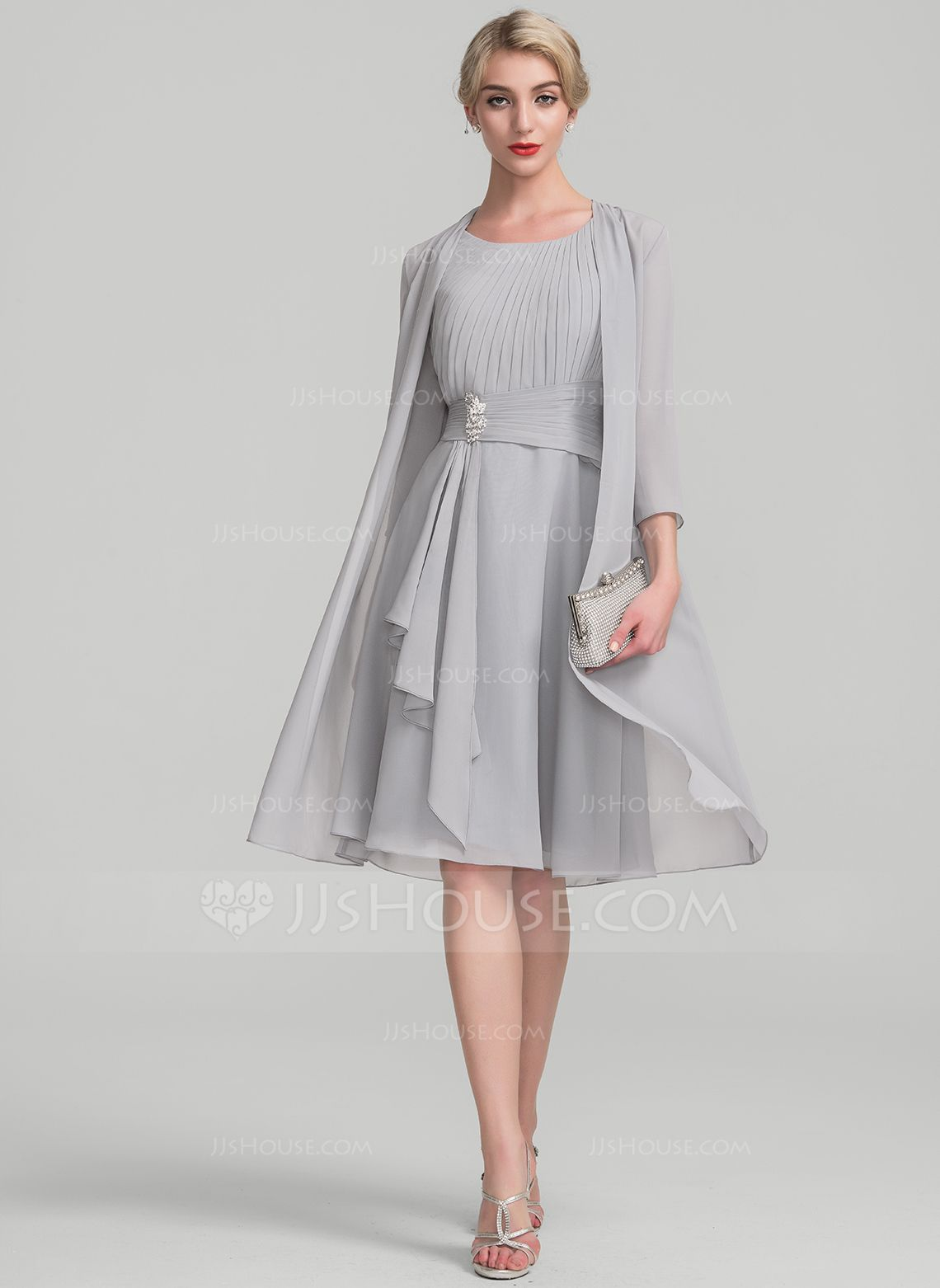 Us 110 00 A Line Princess Scoop Neck Knee Length Chiffon Mother