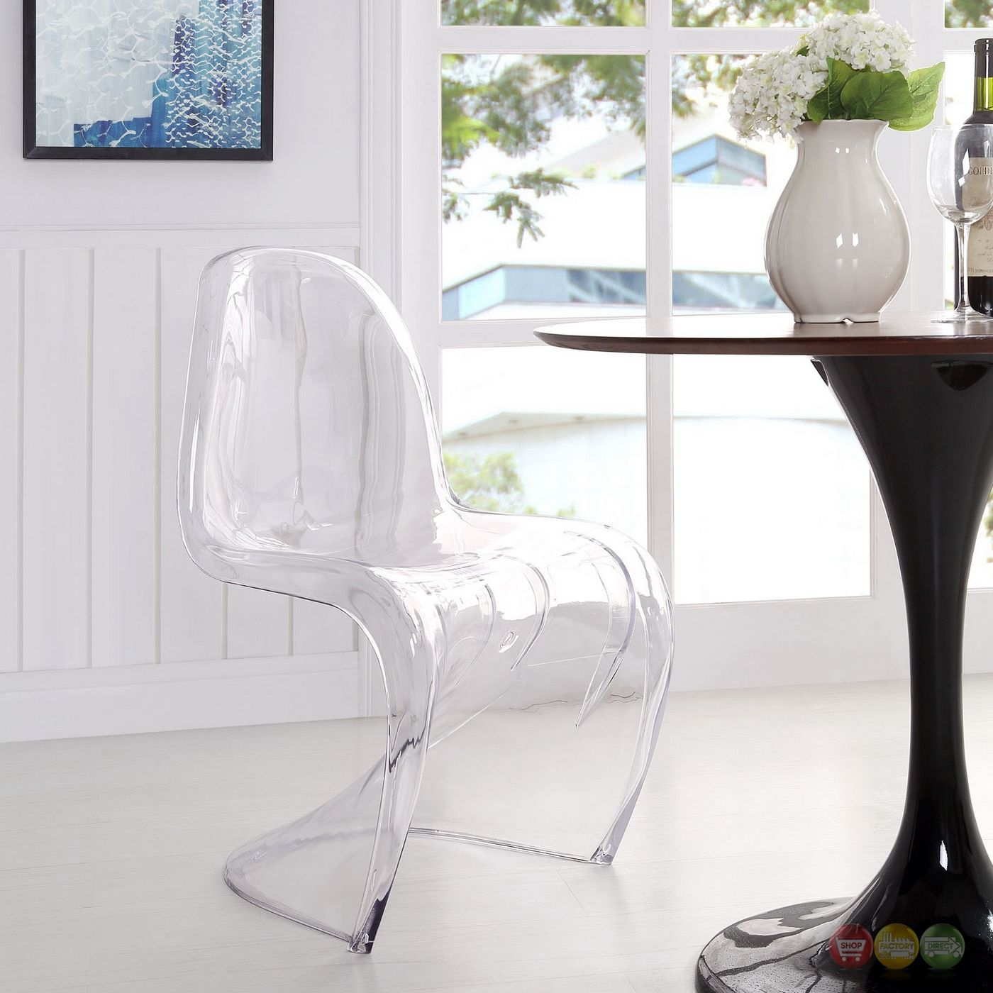 Slither Modern Transparent S Shaped Acrylic Dining Side Chair