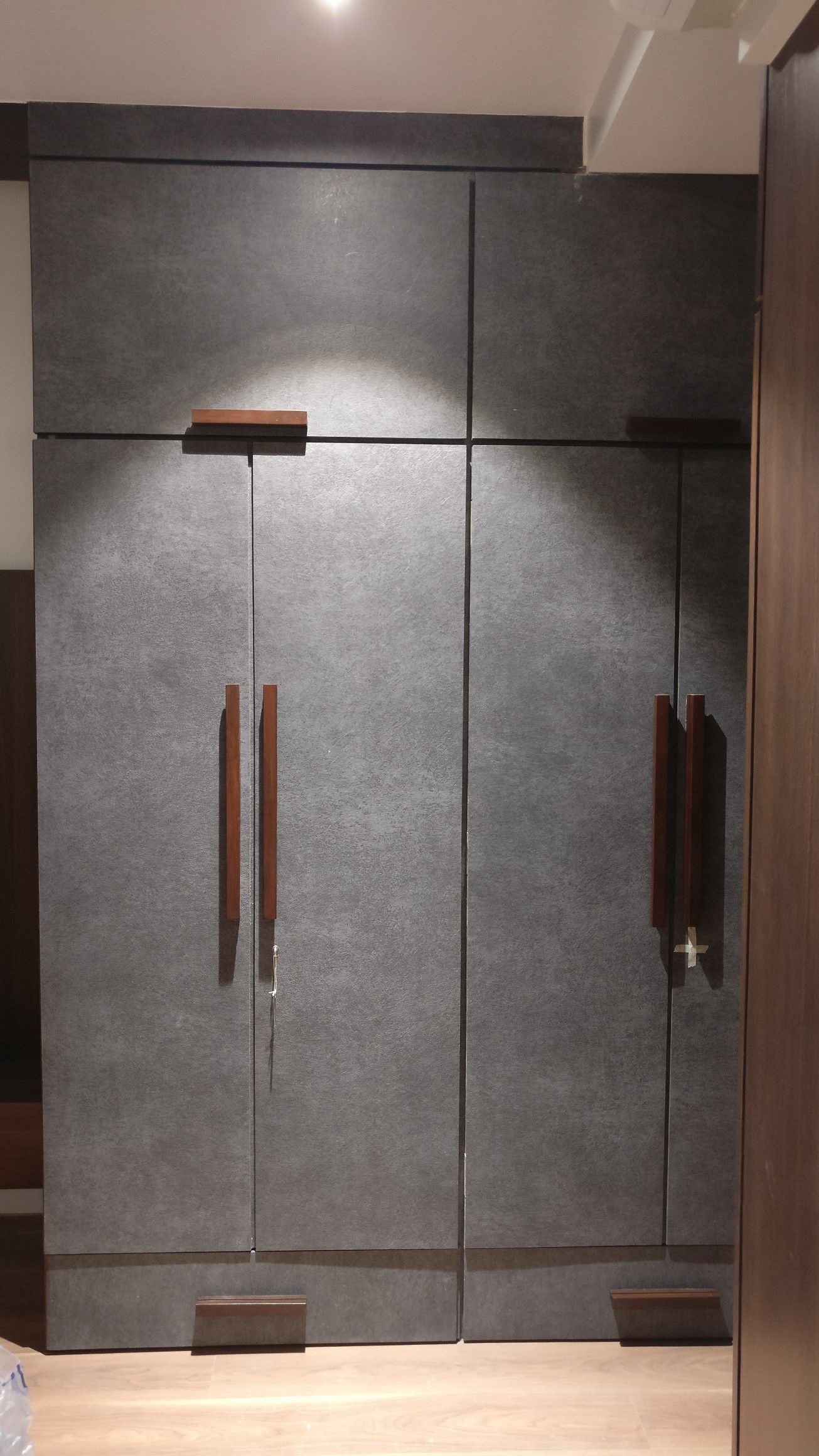 Grey Wardrobe With Wooden Handles In 2019 Bedroom Closet