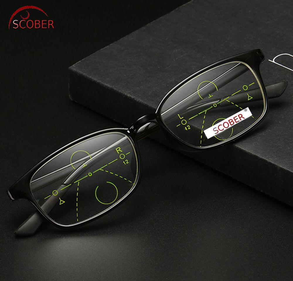 bdf2e738acb0 SCOBER = Progressive Multifocal Reading Glasses Classic Retro Vintage Black Eye  frame See Near And Far