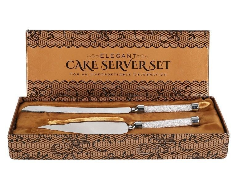 Cake knife and server set stainless steel silverware