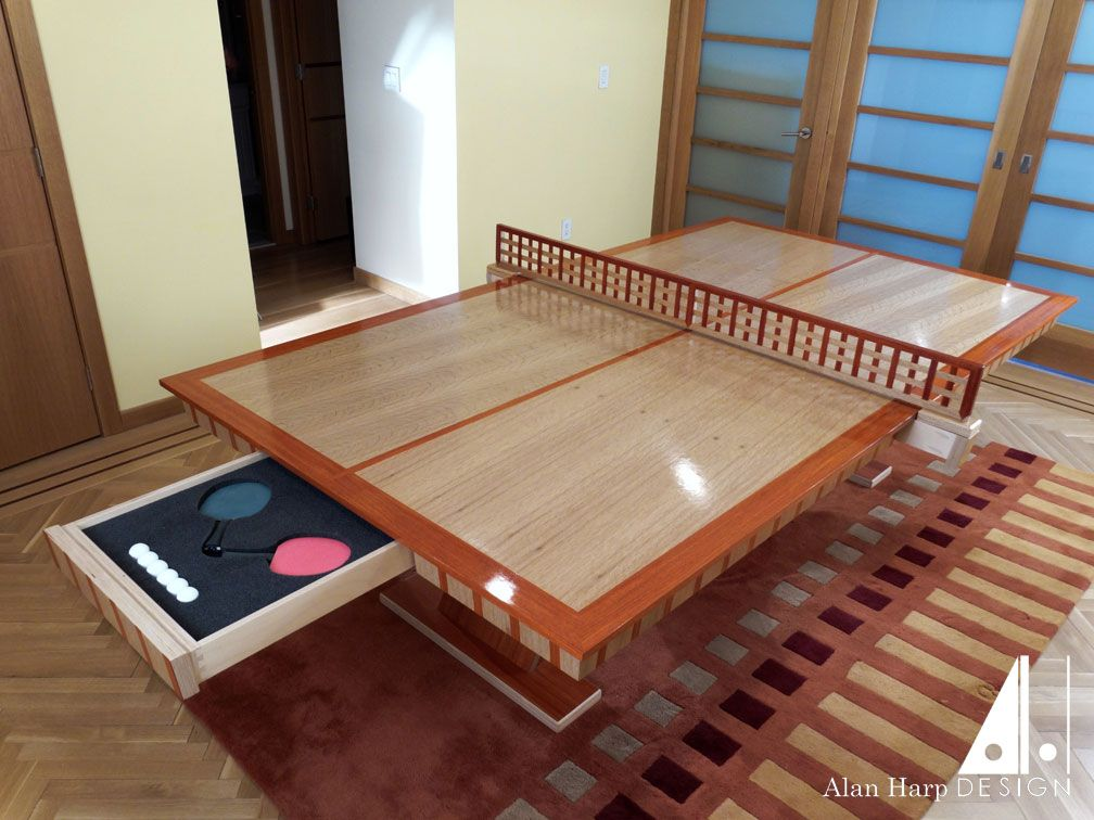 Custom Oak And Padauk Ping Pong Table