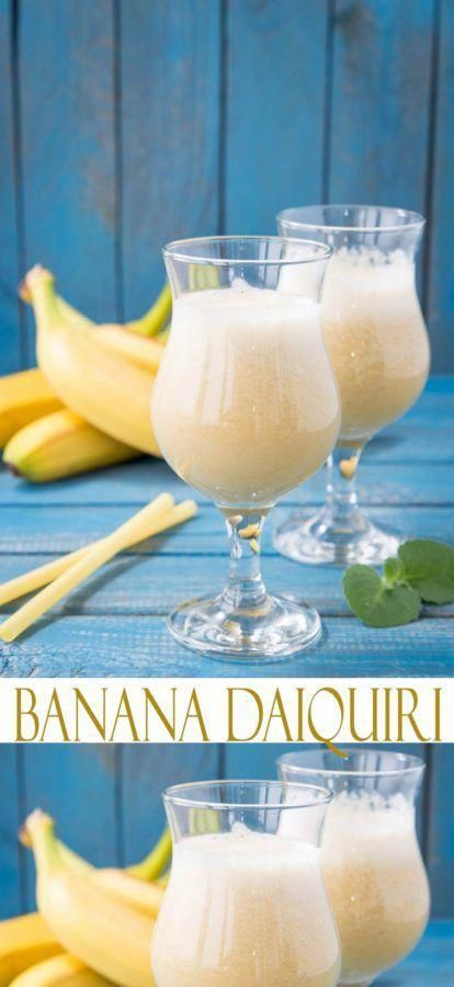 Easy Cocktail Recipes. Banana Daiquiri Recipe. Looking for the perfect tropical cocktail? Whether you're searching for a girlie drink or just like banana drinks, you've hit the mark with this banana recipe. #cocktailrecipes #hurricanefoodideas