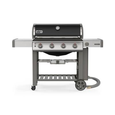 Weber Genesis Ii E 410 4 Burner Natural Gas Grill In Black With Built In Thermometer Propane Gas Grill Grilling Outdoor Cooking