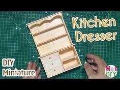 DIY Miniature Kitchen Dresser | How to make a Kitchen Dresser for Dollhouse #dollhouseminiaturetutorials