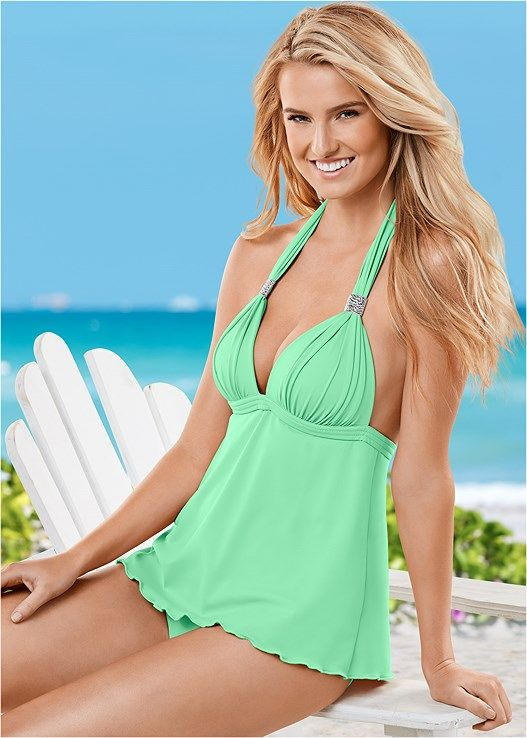 0b77dc19769 Venus Women's Plus Size Goddess Full Tankini Tops - Green , 16 ...