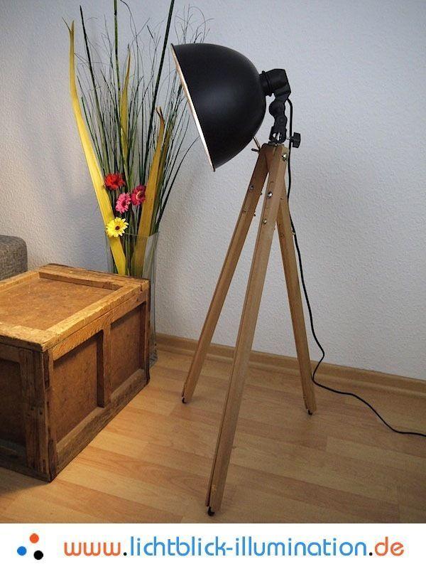 Best Bauhaus Tripod Steh Lampe Holz Dreibein Spot Art Deco Vintage Design Leuchte eBay