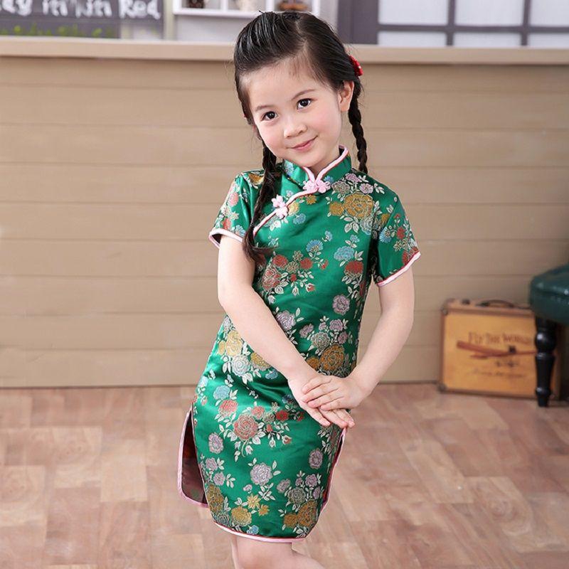 498eff794 2018 Verde Vestido de La Muchacha Niños Qipao Chino Cheongsam Chi ...