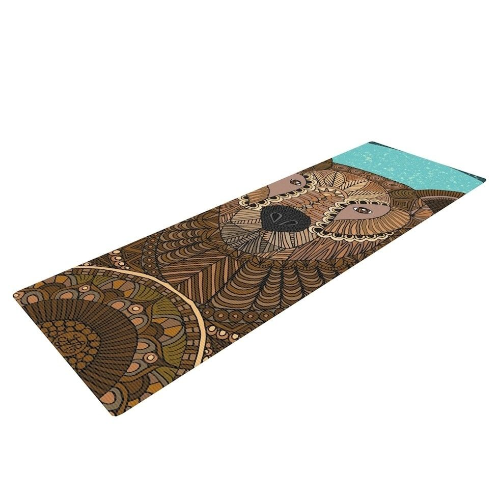 Art Love Passion Bear In Grass Brown Blue Yoga Mat Kess Inhouse Yoga Mats Best Print Yoga Mat