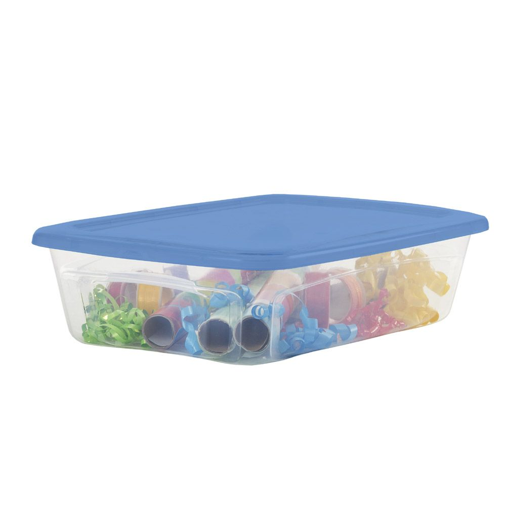 Centrex Rugged 12 5 Gallon 50 Quart Clear Tote With Latching Lid Lowes Com Latches Storage Spaces Plastic Storage Totes