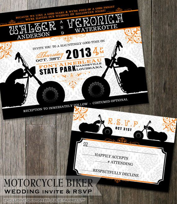 Motorcycle Wedding Invitations Biker Invitation