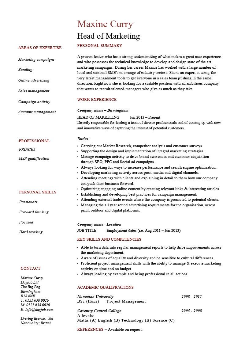 Head Of Marketing Resume Marketing Resume Project Manager