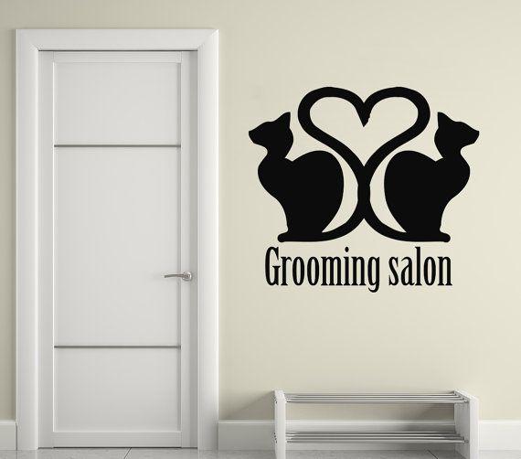Cat Wall Decals Grooming Salon Vinyl Decal Pets Sticker ...