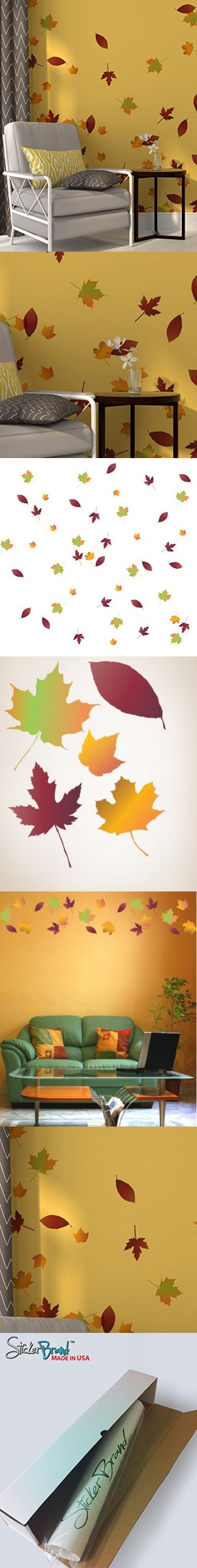 Autumn Leaves Falling Wall Decal Stickers - Fall Colors Decoration. Easy to Apply & Removable. Include 60 leaves. #AC124 #autumnleavesfalling
