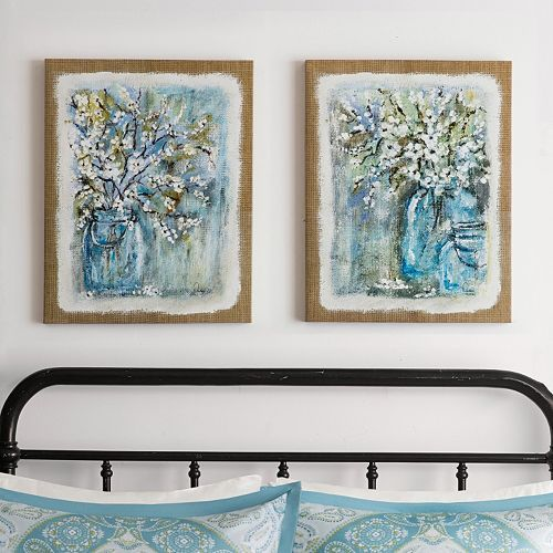 Youll love the mix of contemporary design with the elegant floral designs of this madison park burlap blossoms gel coat canvas wall art set