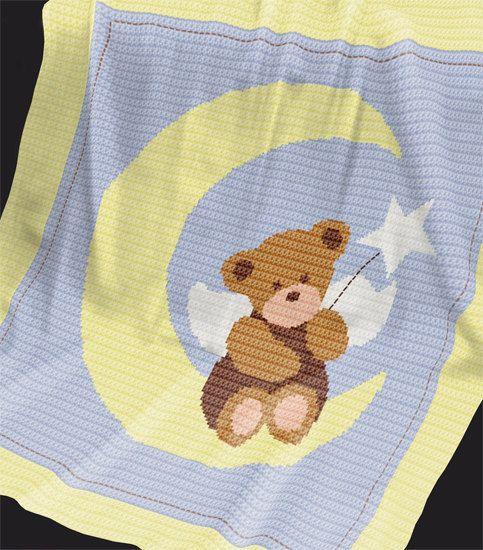 Crochet Pattern Baby Blanket/Afghan Angel Bear por PatternWorldUK