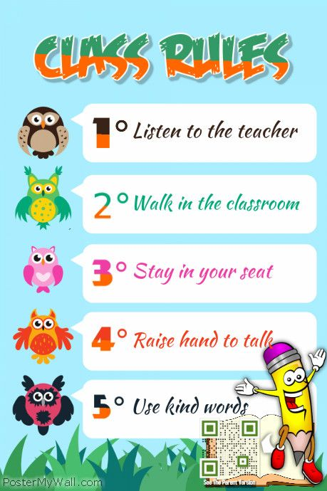 Class Rules Poster Theme Animal Kids And Kindergarten Http Www Postermywall Com Index Php Poster View 9 Class Rules Poster School Posters Classroom Rules