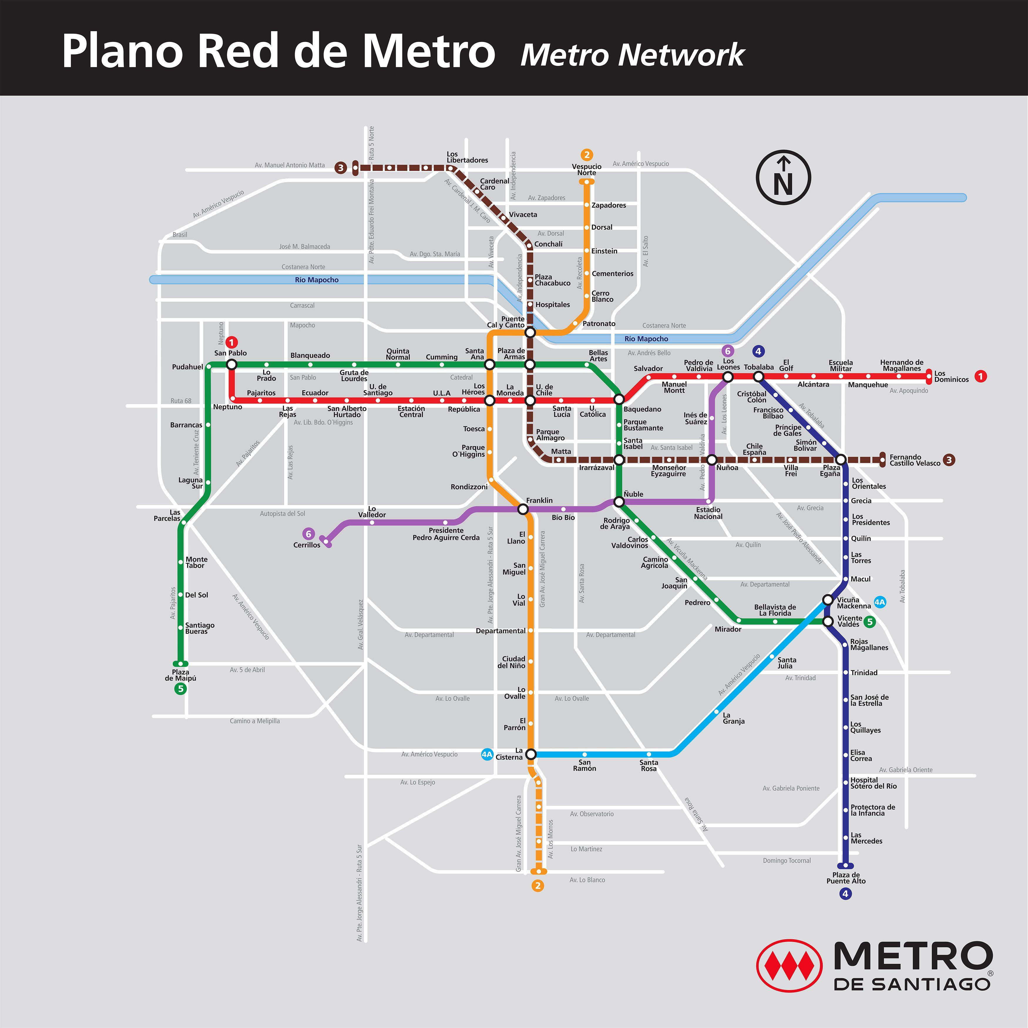 Mapa de metro de Santiago