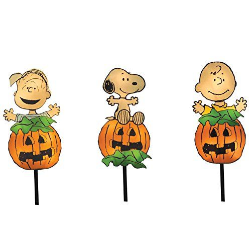 Productworks 8 Inch Pre Lit Peanuts Great Pumpkin Gang Halloween Pathway Markers Set Of 3 Halloween Outdoor Decorations Charlie Brown Halloween Halloween Lighting Outdoor
