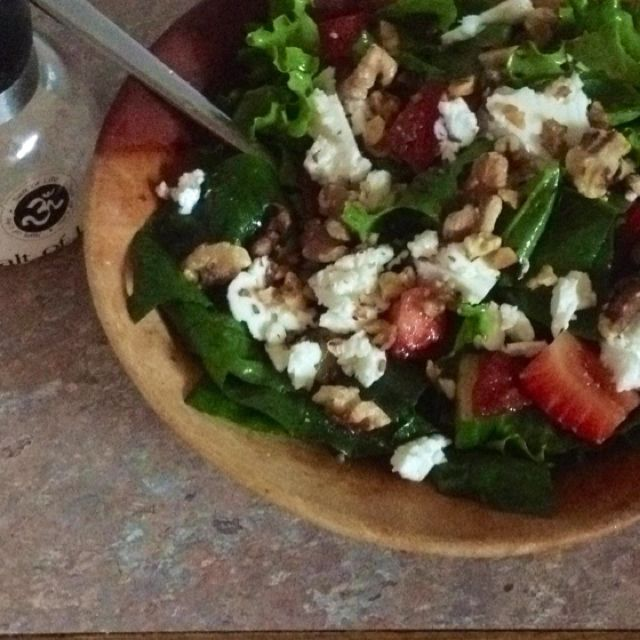 Toasted Walnut, Spinach, Strawberry & Goat Cheese Salad w/ balsamic dressing