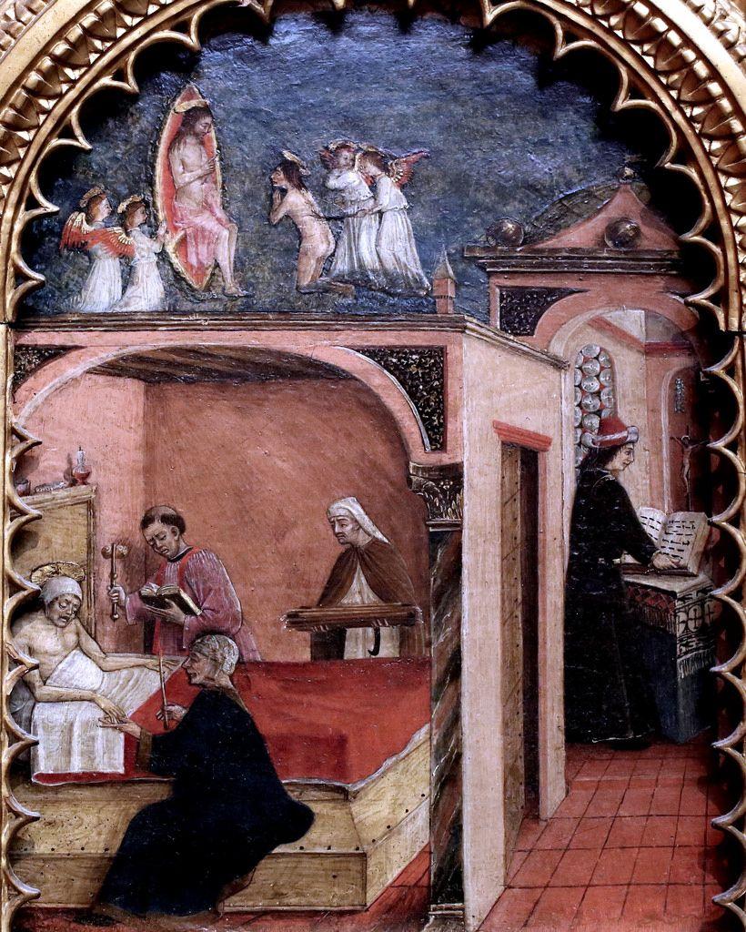 Maestro dei Gesuati (att. a Ferrara verso 1450) - San Girolamo ammalato si vede fustigato davanti a Cristo - 1450-1459 - Milano, Pinacoteca di Brera.