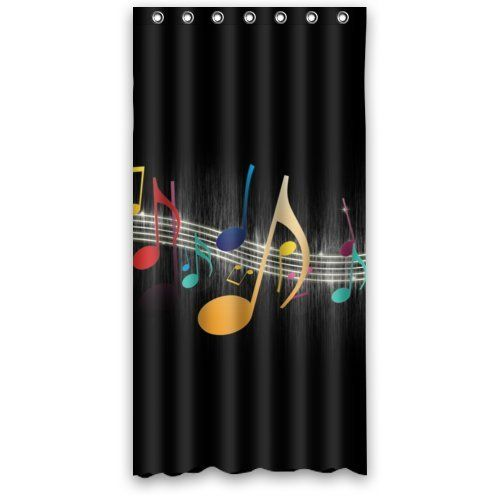 36 X 72 Colorful Music Note Art Design Bathroom Mildew Proof