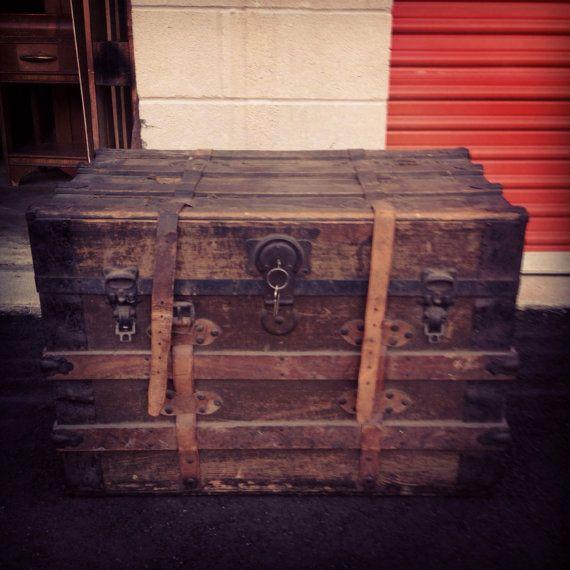 Steamer Trunk Coffee Table Ideas: Antique Trunk- Steamer Trunk, Rustic Furniture, Trunk