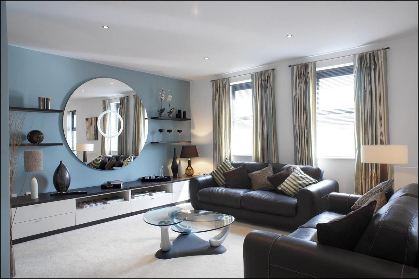 Colour Ideas For Living Room With Black Sofa Blue Walls Living Room Light Blue Living Room Blue Living Room