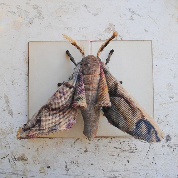 Mr. Finch - Moth made with vintage needlepoint