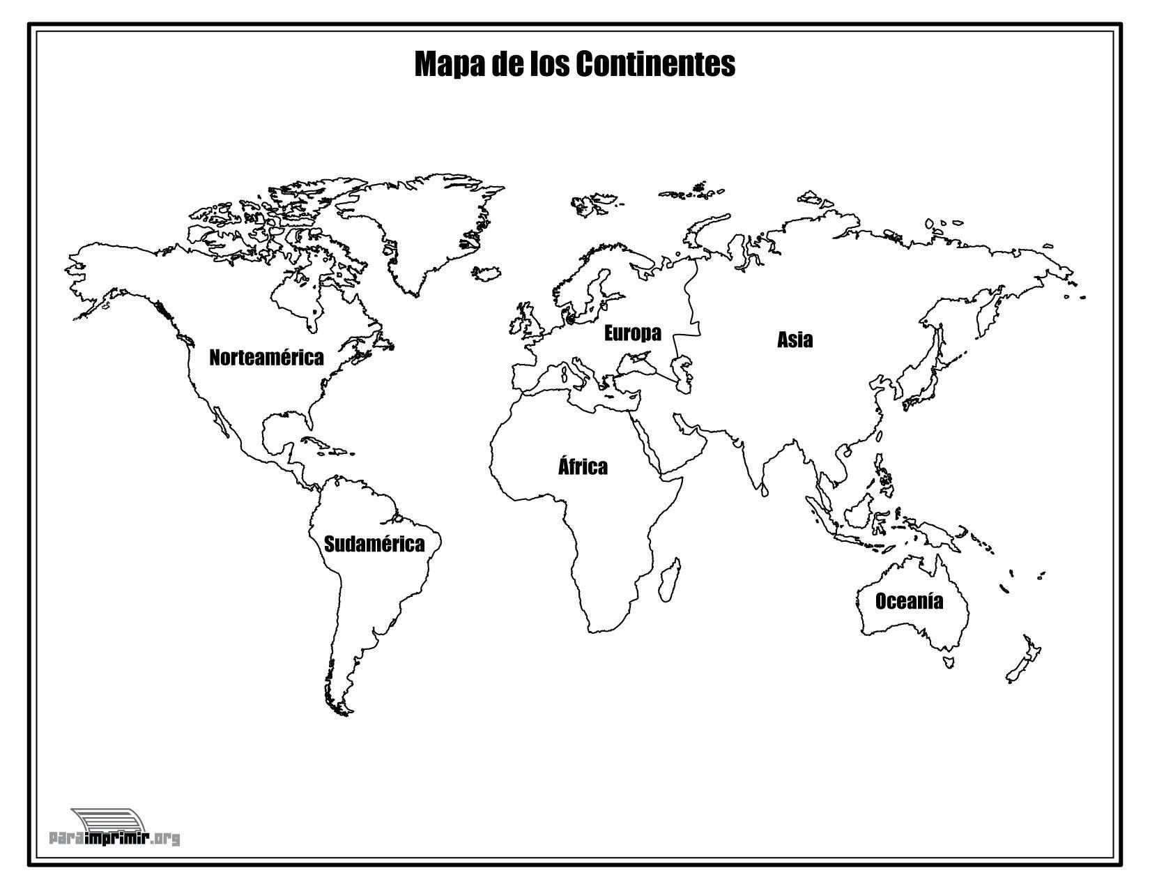 Mapa de los continentes con nombres para colorear y para imprimir ...