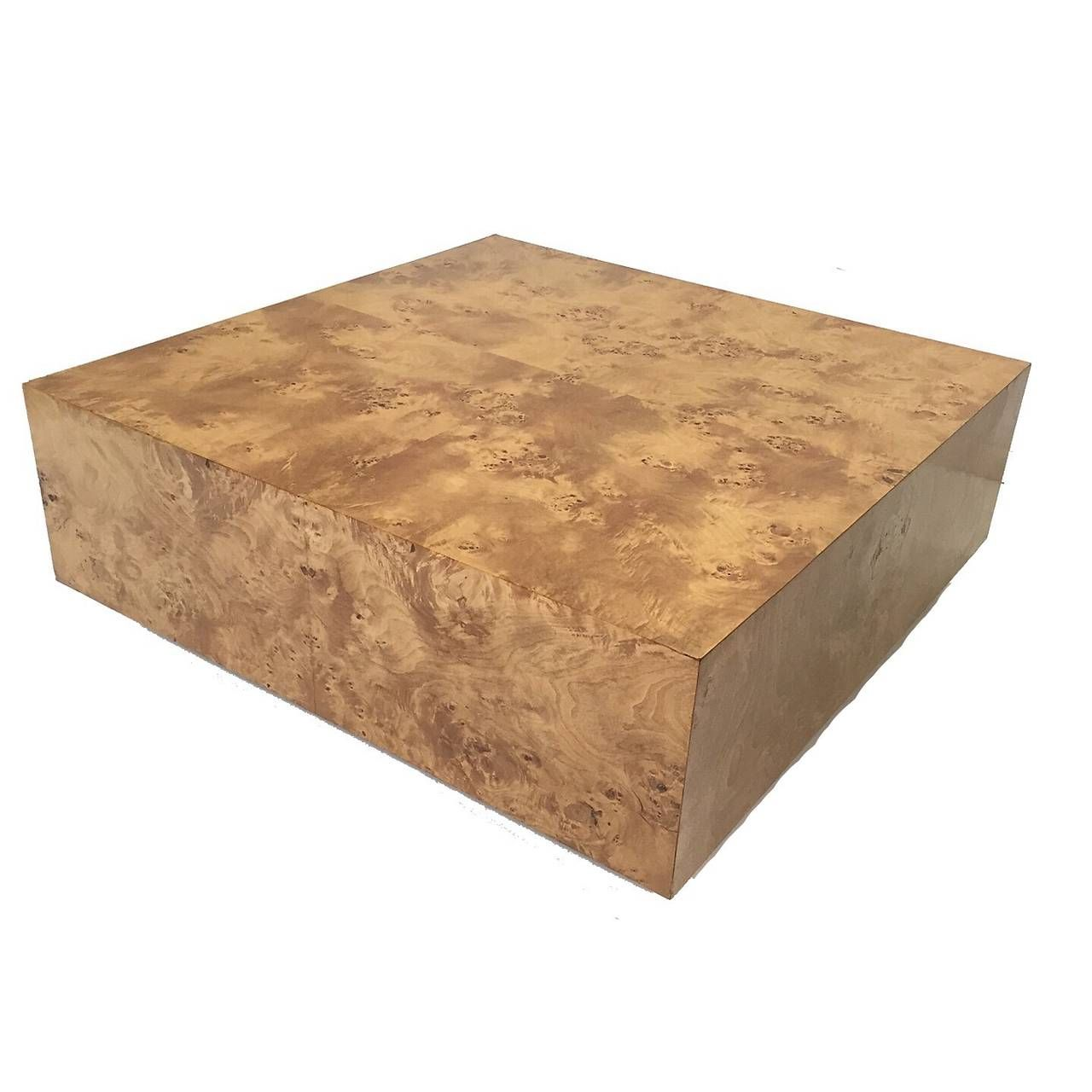 Milo baughman burl wood cocktail coffee table for thayer