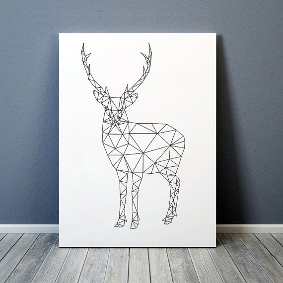 dreieck dekor geometrische hirsch drucken tier von animalgeometry diy geometrische zeichnung. Black Bedroom Furniture Sets. Home Design Ideas