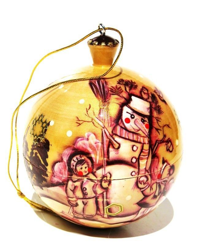 Frosty Russian Wooden Christmas Keepsake Box Ornament