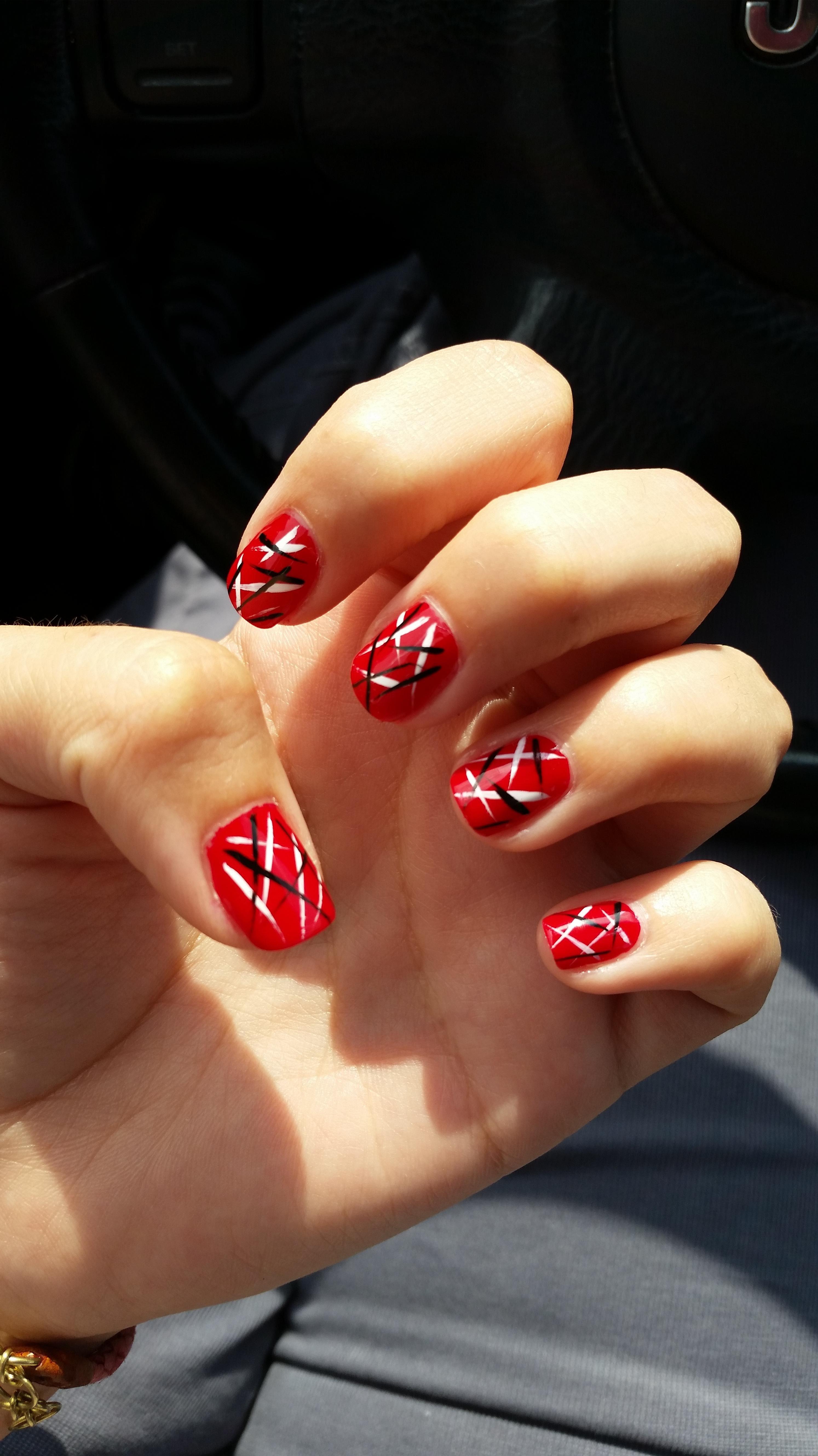Frankenstrat Inspired Nails Nails Eddie Van Halen Inspiration