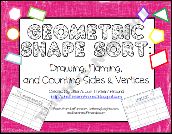 Geometric Shape Sort: Name, Picture, Sides, And Vertices