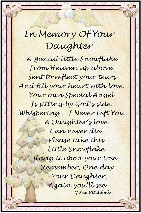 In Loving Memory Of Daughter Snowflake Ornament Grief In Loving Interesting Love Snowflake Quotes
