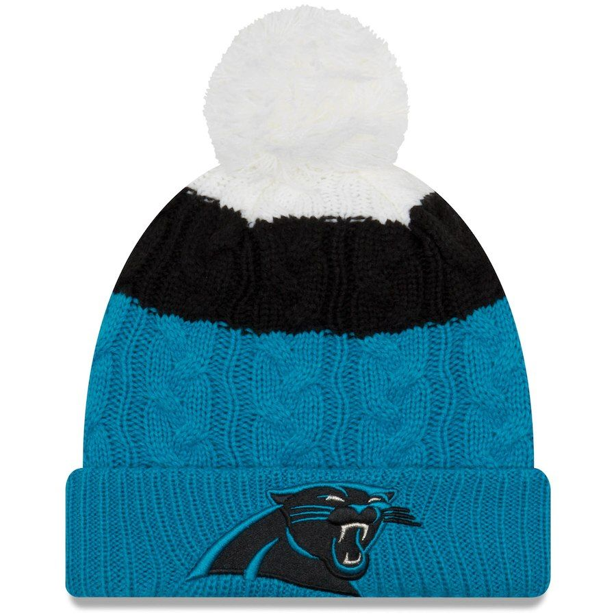 4473d3d430d Women s Carolina Panthers New Era White Blue Layered Up 2 Cuffed Knit Hat  with Pom