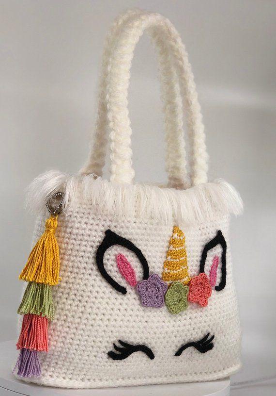Unicorn Handbag Crochet Pattern Pdf English Usa Crochet Unicorn Crochet Patterns Crochet Bag Pattern
