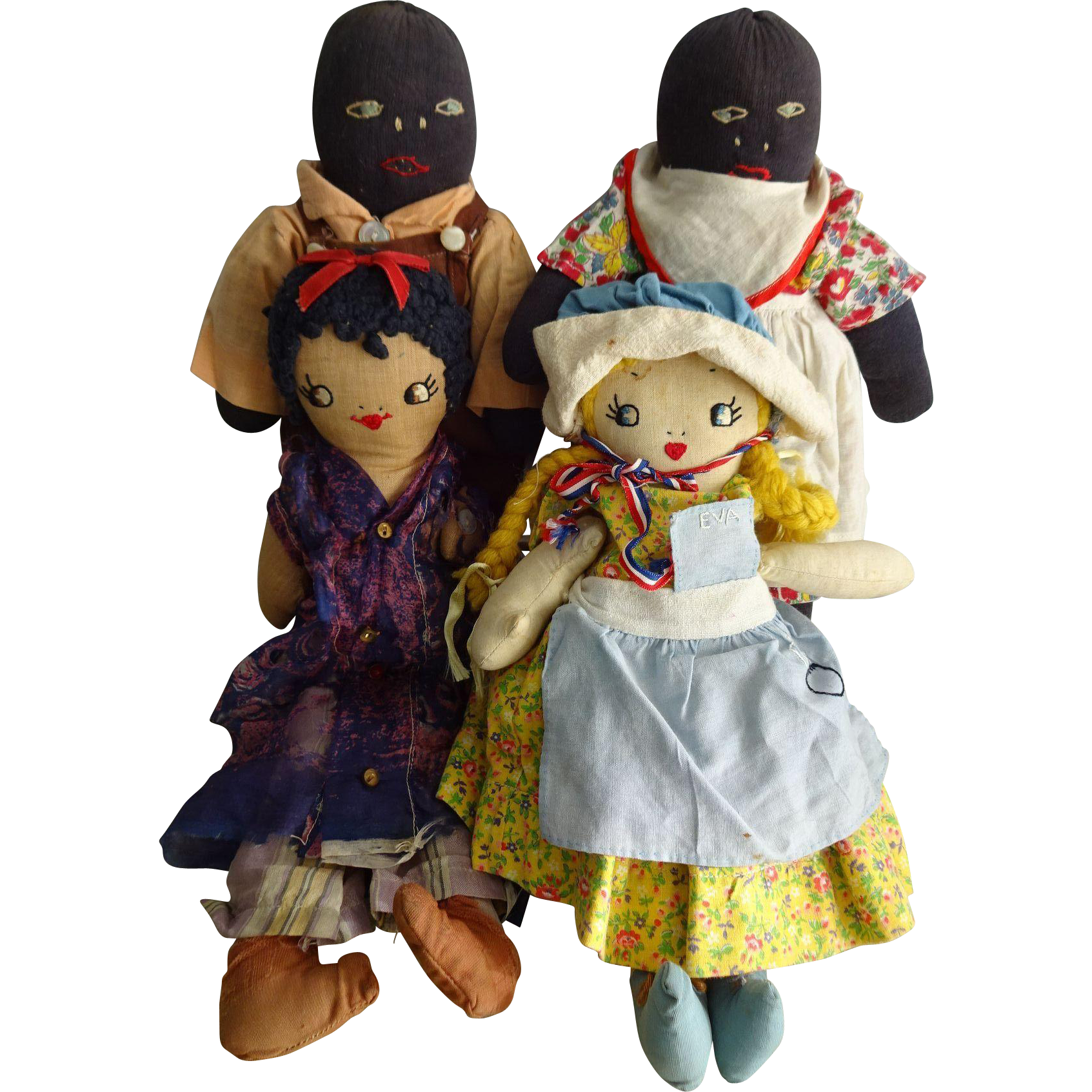 Images of baby toys  Primiive Uncle Toms Cabin Cloth Dolls Antique Set of  Eva Topsy