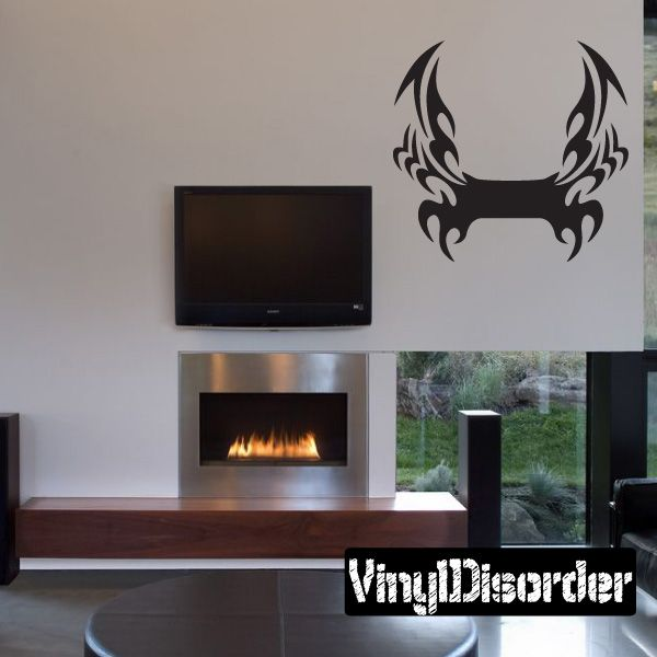 Tribal Flames Frame Wall Decal - Vinyl Decal - Car Decal - DC 025