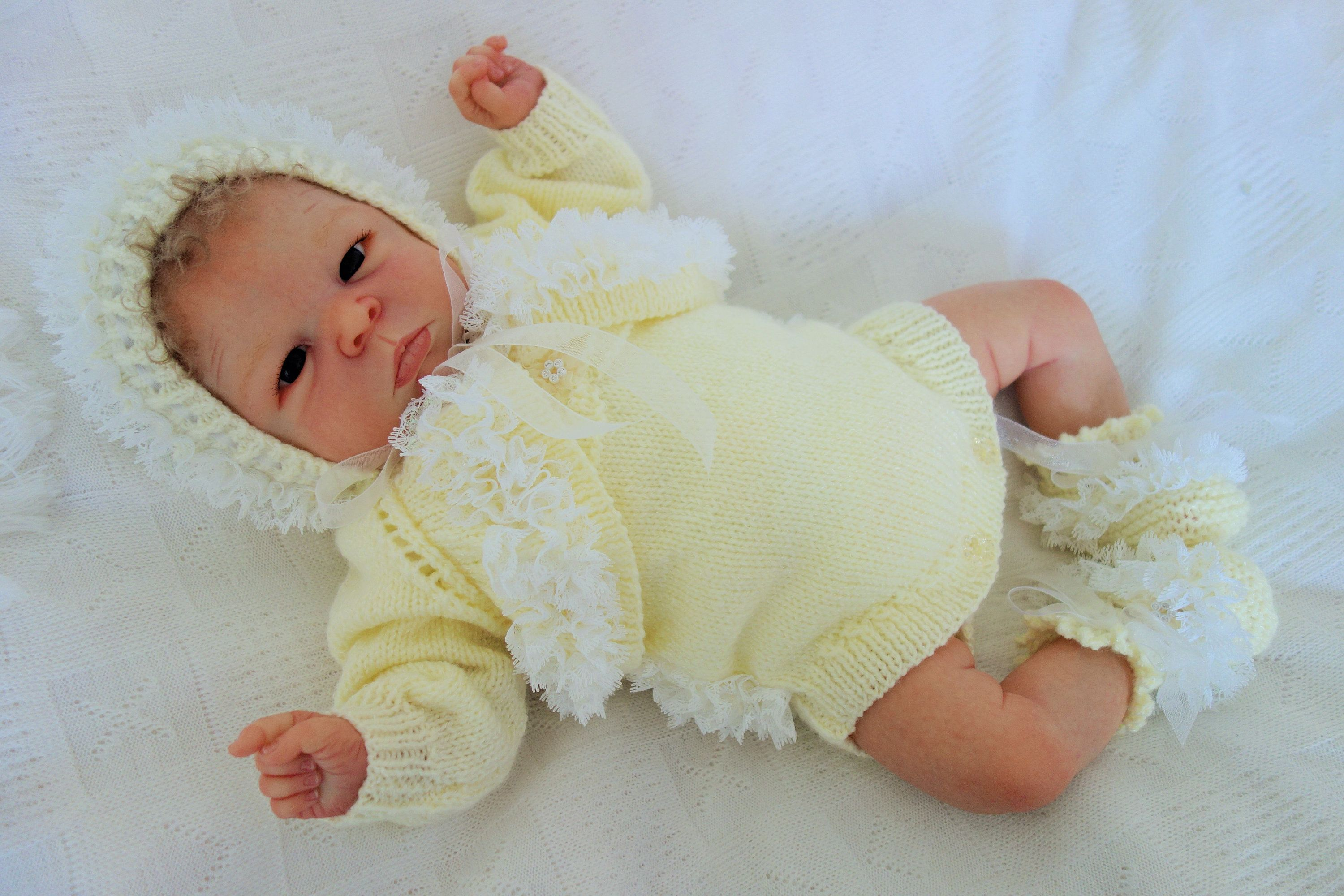 d074ee930 Hand knitted baby girl s fancy lace trimmed lemony cream outfit. 3 ...