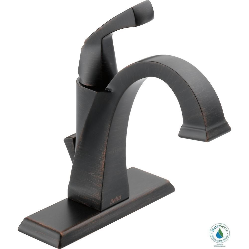 Delta Dryden Single Hole Handle Bathroom Faucet With Metal Drain Embly In Venetian Bronze