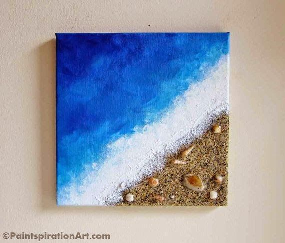 50 beach painting ocean decor with real sand and seashells art coastal home decor textured art mixed media canvas art beach wall art solutioingenieria Images