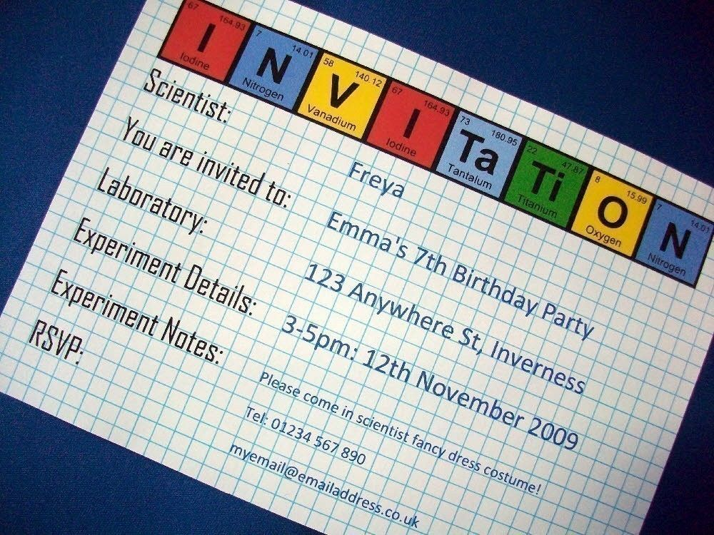 Periodic Table - Science Party Invitation and Decoration Pack ...