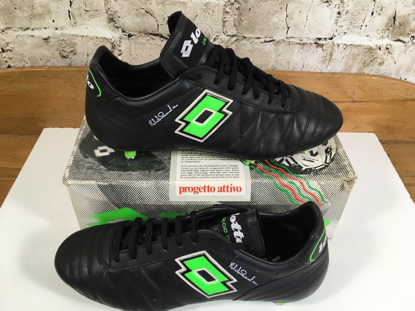 6f544991081c Vintage Lotto in Donadoni football Boots Uk8.5 US9.5 Eu42.5 Leather Soccer  Cleat | eBay